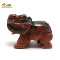 """statuette minéraux """" éléphant"""", en pierre naturelle de jaspe mokaïte"""