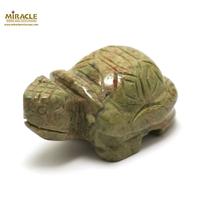 """statuette minéraux """"tortue"""" , pierre naturelle d'unakite"""