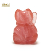 "statuette minéraux ""chat de fortune"", pierre naturelle de quartz strawberry"