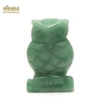 """statuette minéraux """"chouette"""", pierre naturelle d'aventurine"""