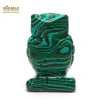 """statuette minéraux """"chouette"""", pierre naturelle de malachite"""