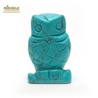 """statuette minéraux """"chouette"""", pierre naturelle de turquoise"""