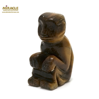 """statuette minéraux """"singe"""", pierre naturelle de l'oeil du tigre"""