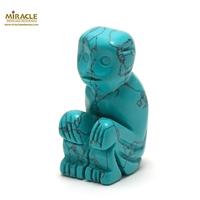 """statuette minéraux """"singe"""", pierre naturelle de turquoise"""