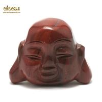 """statuette minéraux """"tête de bouddha"""", pierre naturelle de jaspe mokaïte"""