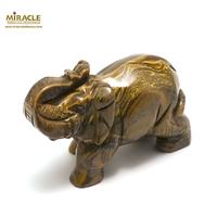 """Grande statuette minéraux """"éléphant""""en pierre naturelle d'oeil du tigre"""