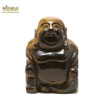 """Grande statuette minéraux """"bouddha""""en pierre naturelle d'oeil du tigre"""