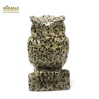 """Grande statuette minéraux """"chouette""""en pierre naturelle de jaspe paysage"""