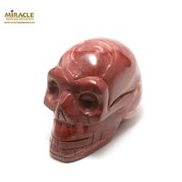 """Grande statuette minéraux """"tête de mort""""en pierre naturelle de jaspe mokaïte"""