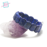 "bracelet lapis lazuli ""plaquette rectangle arrondie"""