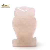 """Magnifique statuette """"chouette"""" en pierre naturelle de quartz rose"""