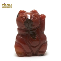 """Magnifique statuette """"chat de fortune"""" en pierre naturelle de jaspe mokaïte"""