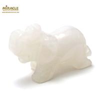 """Magnifique statuette """"éléphant"""" en pierre naturelle de jade blanc"""