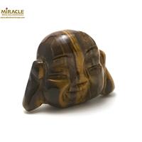 """Magnifique statuette """"tête de bouddha"""" en pierre naturelle de oeil du tigre"""