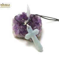 """Pendentif en jade véritable """"croix 48x25x6 mm"""", pierre naturelle"""