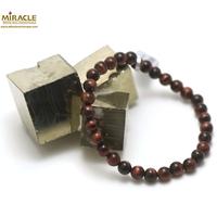 """Bracelet oeil de taureaux """"perle ronde 6 mm"""",pierre naturelle"""