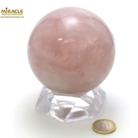 magnifique sphère en pierre naturelle de quartz rose,8.5cm