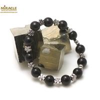 "bracelet onyx , ' perle ronde 10 mm - perle argentée"""