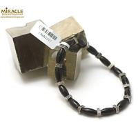 """Bracelet onyx """"olive-perle argenté rondelle carrée"""""""