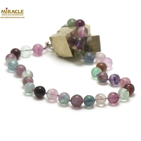 "Collier mi-long fluorite , ""perle ronde 14 mm"""