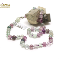 "Collier long fluorite,""ronde 10 mm"""