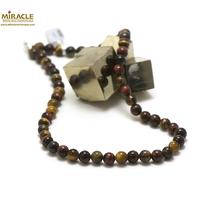 """collier """"trois oeil""""(oeil de tigre/oeil de taureau/oeil de faucon), perle ronde 8 mm"""