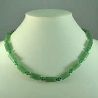 "Collier aventurine ""rectangle plat_ ronde """