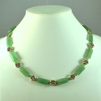 "Collier aventurine ""rectangle plate_ métal"""