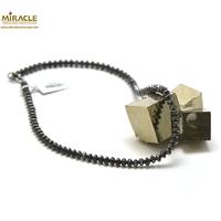 "collier hématite, perle ""rondelle hexagonale"""