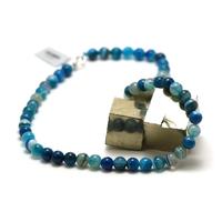 "collier agate teinté bleu,""ronde 8 mm"""