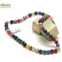 "collier agate teintée multicolore ""ronde 8 mm """