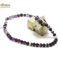 """collier agate teinté mauve , perle """"ronde 8 mm"""""""
