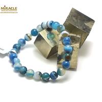 """Bracelet agate teinté bleu , perle """"ronde 8 mm"""""""