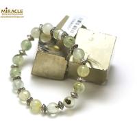 """Bracelet préhnite, perle""""ronde 8 mm-perle argent"""""""