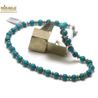 """collier turquoise, perle """"ronde 8 mm-perle argenté"""""""