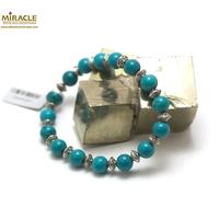 """bracelet turquoise, perle """"ronde 8 mm/perle argenté"""""""