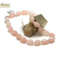 "collier quartz rose , perle ""olive torsadée"""