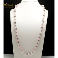"""collier long quartz rose, perle """"ronde 12/8- perle argentée"""",74 cm"""