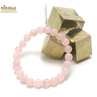 "bracelet quartz rose ,perle ""ronde 8 mm"""
