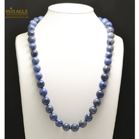 "collier long dumortierite, perle ""ronde 14 mm"""