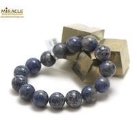 "bracelet dumortierite, perle ""ronde 14 mm"""