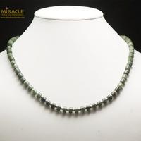 """Collier jade néphrite de Canada, perle """"rondelle/perle argenté"""""""