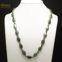 """Collier long jade néphrite de Canada, perle """"palet oval/rondelle"""""""