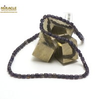 "collier iolite, perle tube ""5x4 mm"""