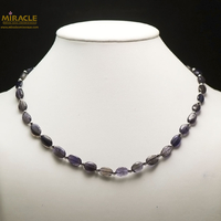 """collier iolite, perle""""palet oval-perle argenté"""""""