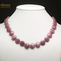 """collier Lépidolite, perle """"palet rond"""""""