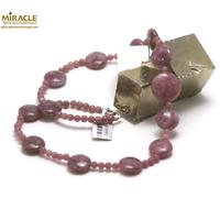 """collier Lépidolite, perle """"palet rond/ronde 4 mm"""""""