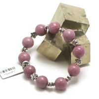 """bracelet Lépidolite, perle """"ronde 12 mm/perle argenté fleur"""""""