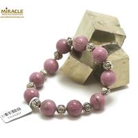 """bracelet Lépidolite, perle """"ronde 12 mm/perle argentée fleur ronde"""""""