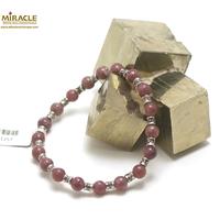 """bracelet Lépidolite, perle """"ronde 6 mm/perle argenté fleur"""""""